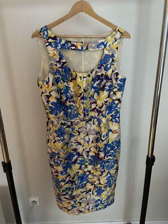 Sukienka w kwiaty jedwabna 40 L massimo na wesele do pracy