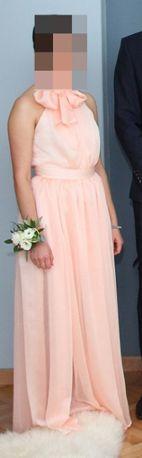 Sukienka różowa długa wesele ślub poprawiny