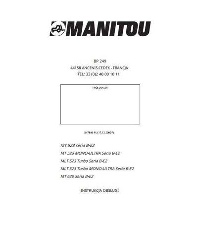 Instrukcja obsługi MANITOU MT 523, MT 620 jz. polski