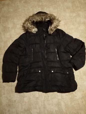 Kurtka zimowa puchową futerko kaptur pikowana gruba ciepła 4×XL