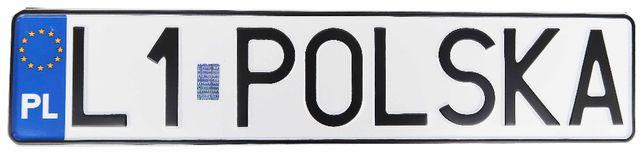 Polska tablica rejestracyjna z imitacją hologramu (kolekcjonerska)