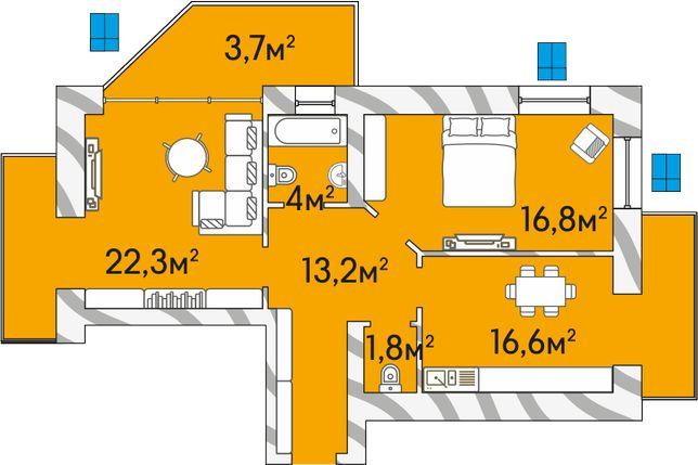 2-кімнатна квартира у Луцьку