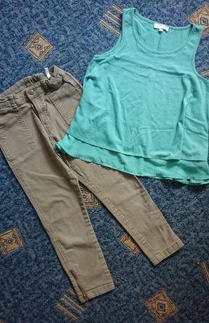 Крутые джинсы H&M с замочками, укороченные, цвет хаки+блуза р.9-10лет