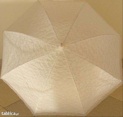 parasol ŚLUBNY 2*pokrycia KORONKA ecru biała ŚLUB parasolka koronkowa