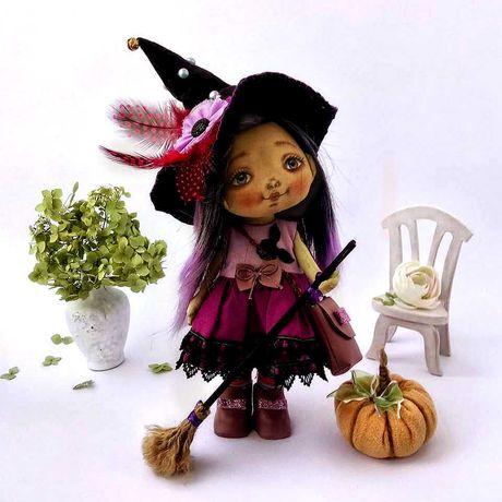 Кукла  ручной работы из хлопка. Кукла ведьмочка. Лялька ручної роботи.