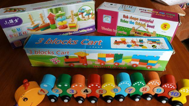 Деревянные игрушки - поезд, рыбалка, гусеница, сортер
