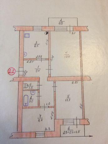 Продам 3-х кімнатну квартиру в м. Красноград.
