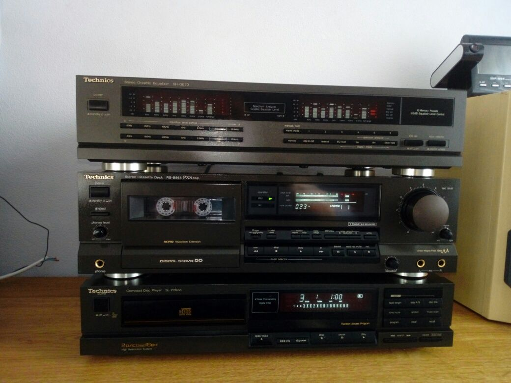 Odtwarzacz CD Technics SL-P202A,super stan,korektor,magnetofon