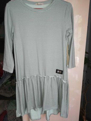 Nowa sukienka brudna mięta w pepitke