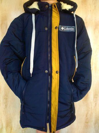 Удлиненная Зимняя теплая куртка на мальчика 10,11,12,13,14,15 лет