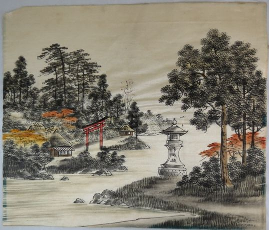 Seda Japonesa Pintada representando Templo Inari em Kyoto Japão-Séc XX