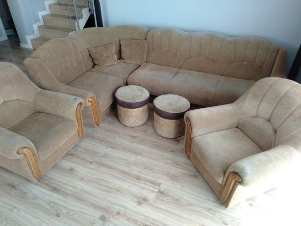 Narożnik+fotele+pufy