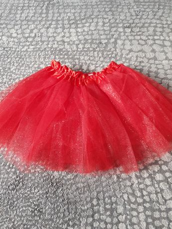 Czerwona brokatowa  spódniczka