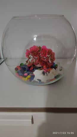 Aquário globo grande com decoração incluida