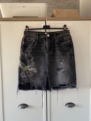 Czarna jeansowa spódnica River Island M