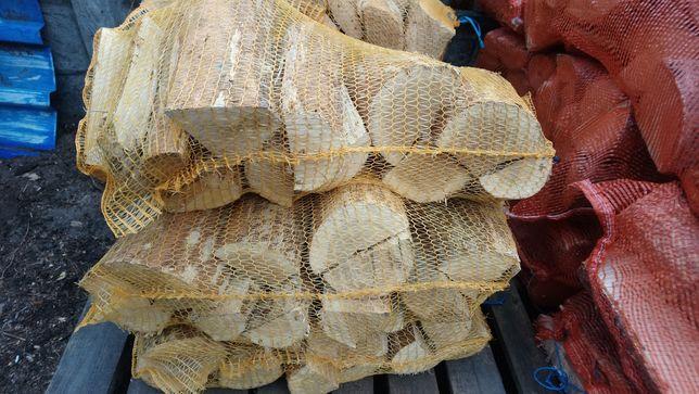 Drewno kominkowe opałowe Dębowe okorowane Wędzarnia suche
