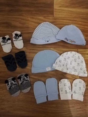 Czapeczki, rękawiczki niedrapki, skarpetki dla noworodka