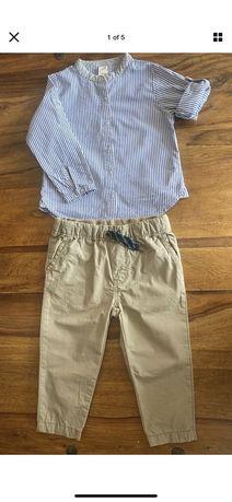 Spodnie Chinos bezowe i koszula dla chlopca 12-18 miesiecy