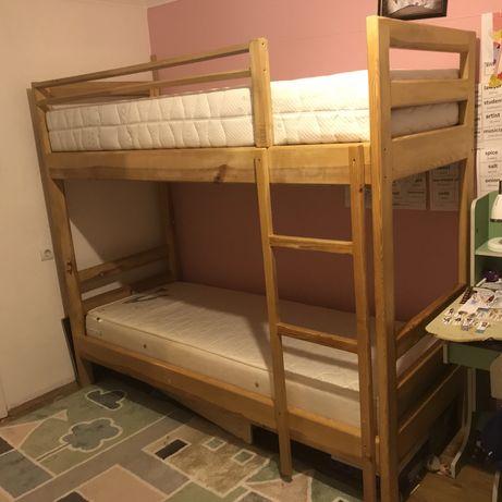 Кровать двухъярусная двоповерхове ліжко + матрац дерево