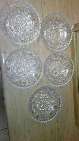 Talerzyki 5sztuk vintage kryształowe