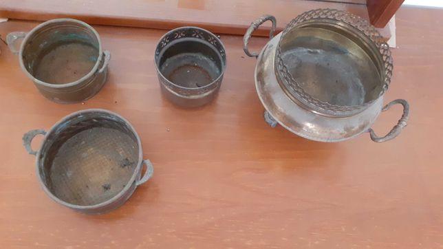 Candeia, lamparinas, tachos, azeite petroleo latão