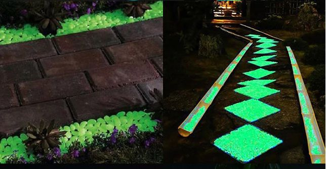 Świecące w ciemności kamyki do ogrodu na chodnik różne kolory 5 szt.