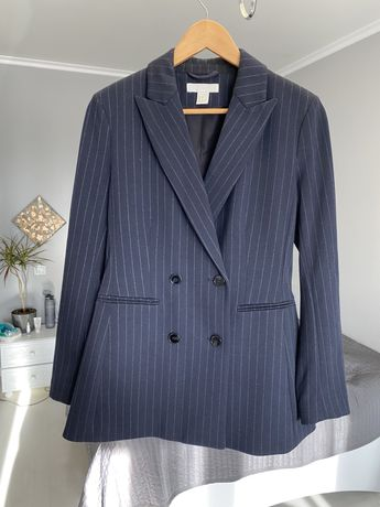 Пиджак двубортовой. Синий в полоску