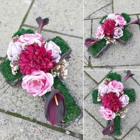 WIĄZANKA NA GRÓB wiązanki na cmentarz stroik kwiaciarnia krzyż jesienn