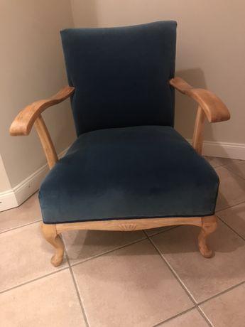 Fotel art deco niebieski welur