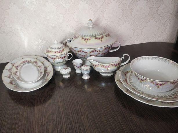 Фарфоровий чешський набір посуду для супу)