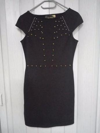 stradivarius sukienka czarna ćwieki + wysyłka