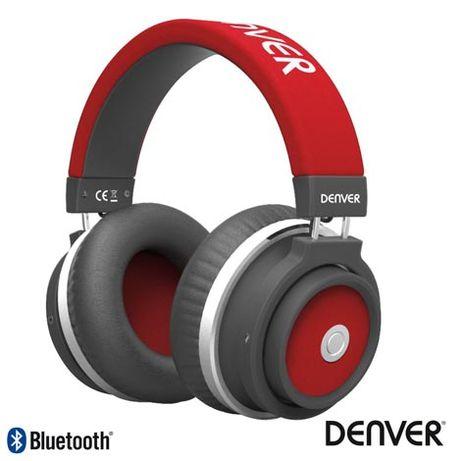 Auscultadores Bluetooth S/ Fios Aux Vermelho Mic DENVER
