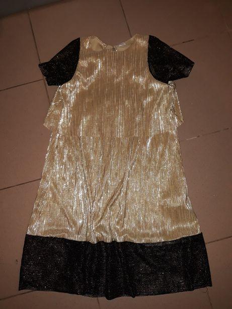 Sukienka złota z czarnym zara