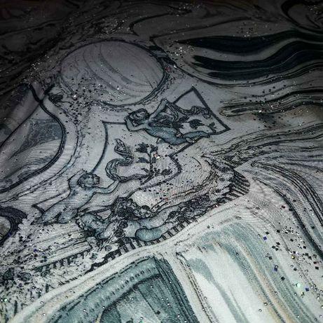 Отрез ткани ткань нарядная с декором 120 х 100 см