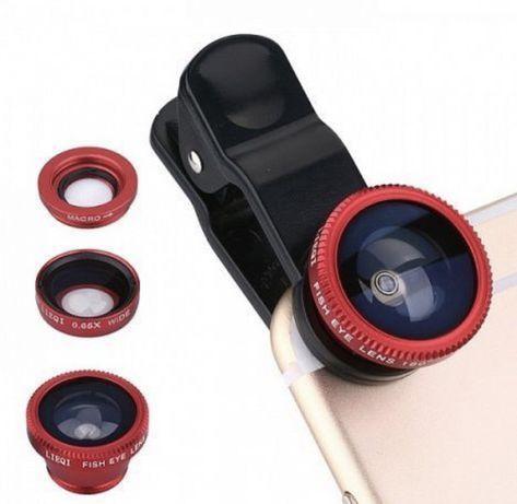 3в1 объектив для телефона: Fish eye (Фишай),макро, широкоугольник