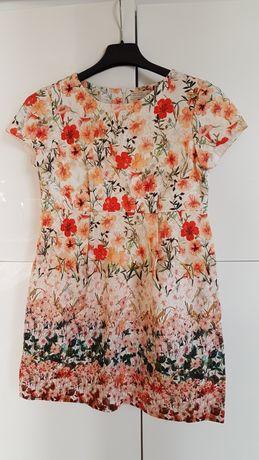 Sukienka dziewczęca w kwiaty krótki rękaw Zara r. 140