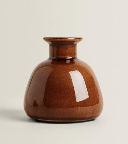 nowy wazon wazonik brązowy o spękanej fakturze ZARA Home