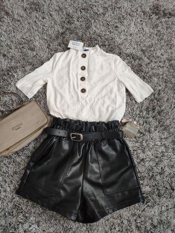 Bluzka Zara spodenki z eko skórki M / S