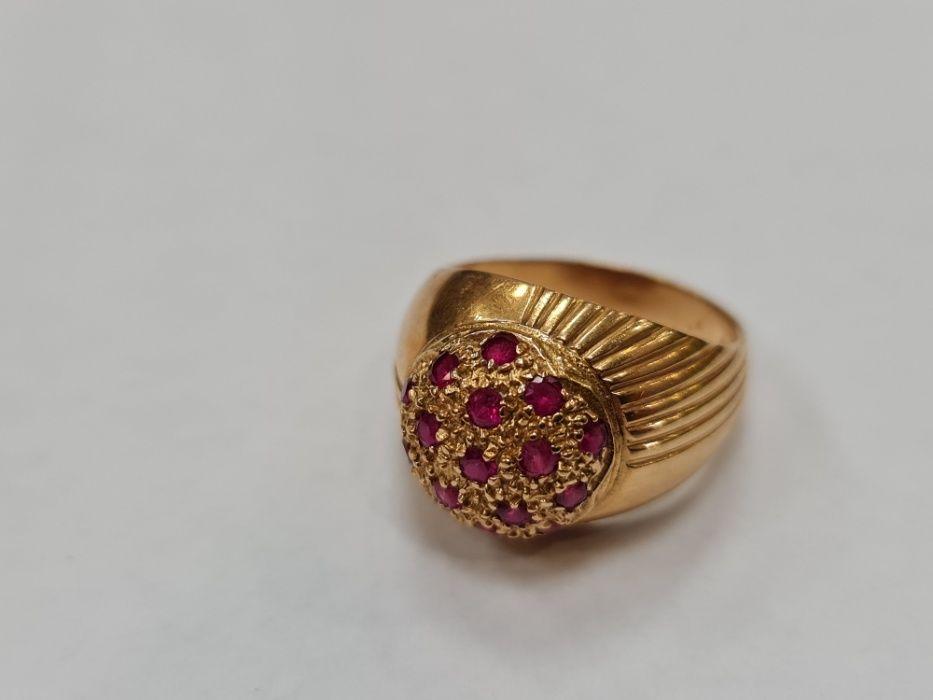Wyjątkowy złoty pierścionek damski/ 750/ 7.69 gram/ R15/ Różowe kamien