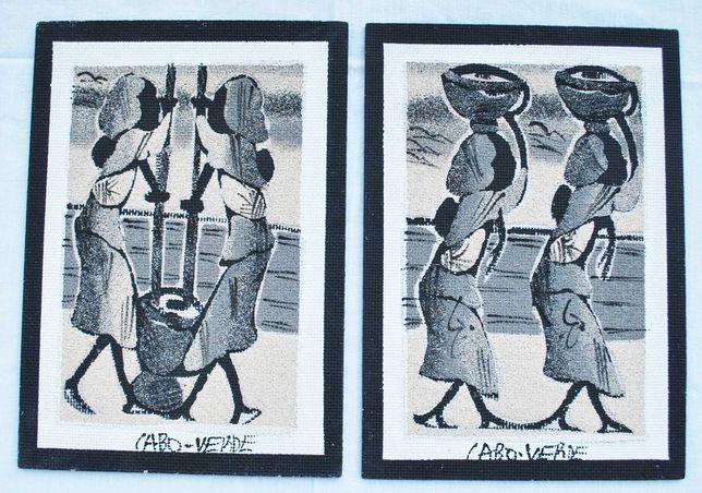 2 pequenos quadros feitos com areia / artesanato de Cabo Verde