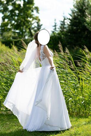 Zjawiskowa suknia ślubna koronka z muślinowym dołem 36-38