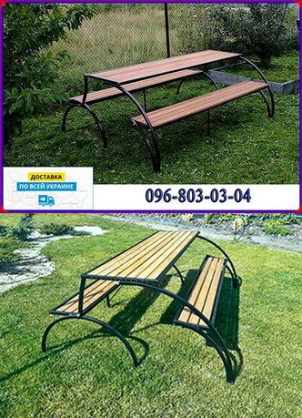 Большой садовый раскладной стол с лавками. Садовая мебель трансформер