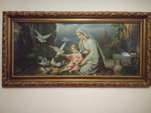 Święty obraz - stary obraz, oleodruk XIX-XX wiek