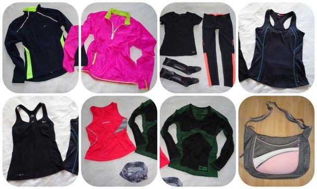 Zestaw 10 ubrań sportowych + torba. Nike, Kalenji, Babolat. Bieganie