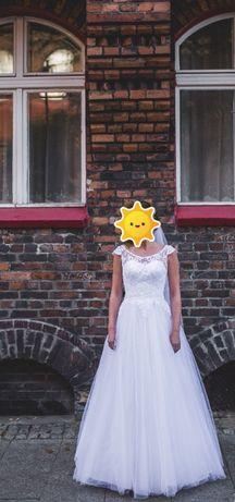 Suknia ślubna koronkowa z delikatnie brokatowym dołem