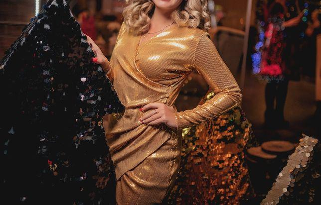 Платье в паетках золото ( на запах платье халат в паетке)