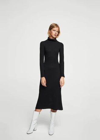Теплое повседневное темно-серое платье миди Мango