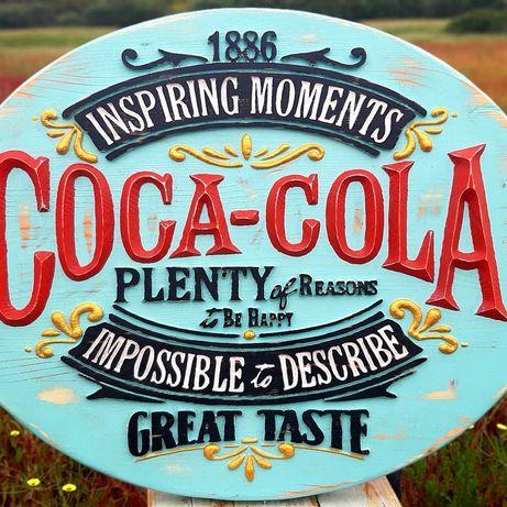 Quadro Coca Cola vintage, pura madeira maciça esculpido relevo
