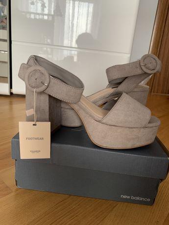 Nowe buty sandaly na grubym obcasie pull&bear
