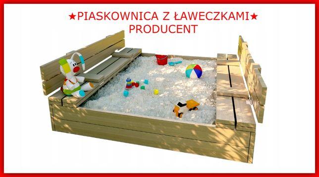 PIASKOWNICA ZAMYKANA z Ławeczkami 120x120 cm PRODUCENT *Okazja*